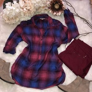 Lucky Brand blue purple plaid top NWOT